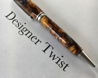 Molten Metal Acrylic Designer Twist Pen with Brushed Satin fittings (item #1004)