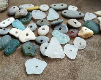 Drilled sea treasures 35pcs White Sea pottery pebbles and seaglass