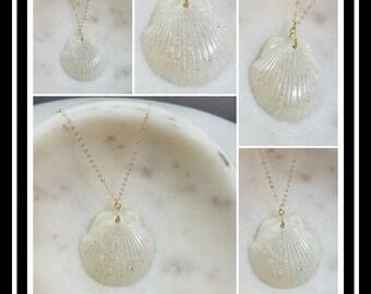 Memorial Ash Cremation Shell Pendant/Memorial Ash Jewelry/ Pet Memorial/Shell Pendant/100+ Color Options