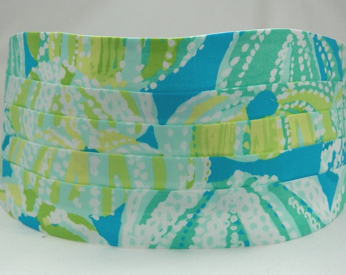 Cummerbund & Bow Tie, turquoise/aqua/lime Sea R Chins Lilly print, groom formal wear, wedding cummerbund,  tuxedo accessory, prom cummerbund