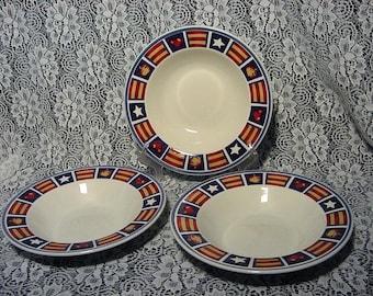 Americana Stars Stripes Patriotic Soup Bowls Set (3) Tienshan Stoneware Modern Dinnerware & Tienshan stoneware | Etsy