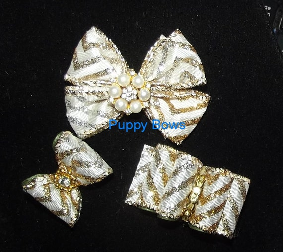 Puppy Bows ~Barrette or latex bands DOG BOW 3 style choices bowtie topknot ivory gold silver ~USA seller