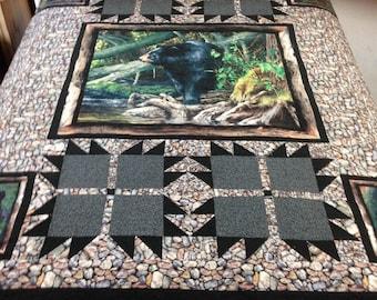 River Rock Bear - Queen Quilt, Rustic Quilt, Cabin Decor