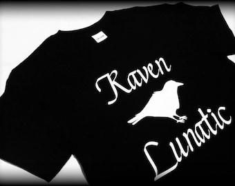 Raven Lunatic shirt, Edgar Allan Poe shirts, The Raven shirt, Raven Shirt, Gothic Clothing, poetry t-shirt, poetry shirt, Edgar Allan Poe