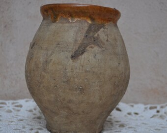 Antique Confit Pot from France - Small Size Semi Glazed