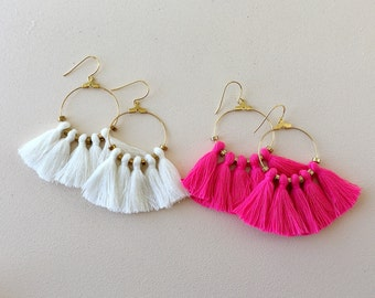 "51 Tassel Colors/ 1.25"" Hoops/ Tassel Earrings/ Tassel Hoop Earrings/ Gold Hoops/ Lightweight"