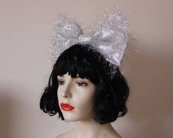 Big oversized metallic shiny silver fluffy tinsel hair bow fascinator FESTIVAL