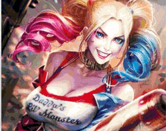 BUY 2, GET 1 FREE! Harley Quinn  Cross Stitch Pattern Counted Cross Stitch Chart, Pdf Format, Instant Download /242242