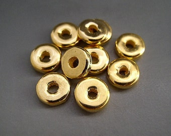 Mykonos Beads 8mm 24 Karat Yellow Gold Spacers Greek Ceramic Beads Naos Rondelles Disks Donuts
