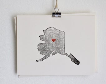Alaska State Notecard / Heart / Greeting Card / Rustic / Modern / Moving / Thank You / Chic / Handmade / Wedding / Set of Cards / Travel