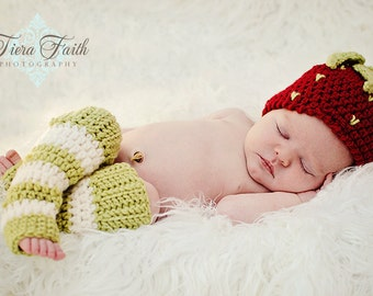 CROCHET PATTERN - Strawberry Shortcake Beanie & Leg Warmers - (4 sizes included) PDF baby girl photo prop photography prop outfit
