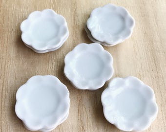 5 pcs.Miniature Plate,Ceramic Plate Miniature,Miniature food Plate,Dollhouse Plate,Small Plate,Dollhouse tray,Miniature tray,DIY