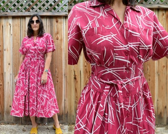 Vintage 80s Does 50s Pink Button Down Shirt Dress S M