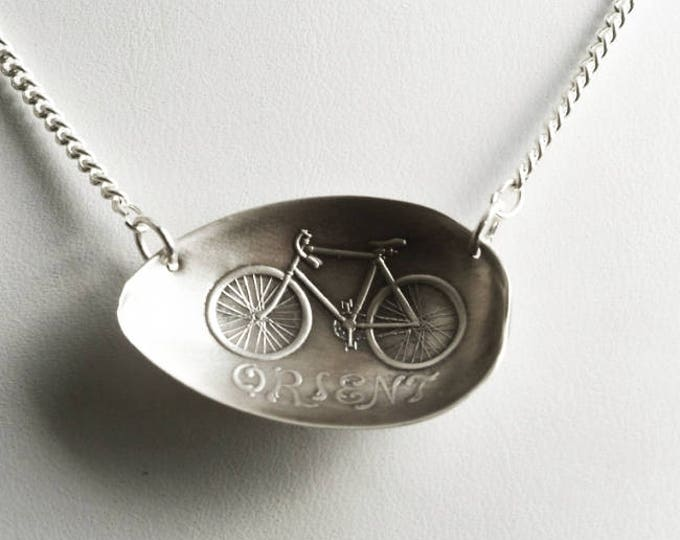 Vintage Bicycle Necklace, Orient Cycles, Sterling Silver Spoon Bowl Necklace, Bike Gift, 925 Bicycle Lover Necklace, Unique Gift Her (P6816)