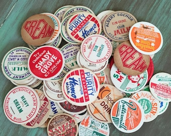 Milk Caps / 25 Vintage Milk Bottle Caps Assorted for Altered ARts, Journals, Mixed Media