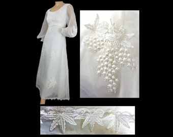 """Vintage 60s Wedding Gown Lace Trim Sheer Puffy Sleeves Detachable Train Empire Waist Summer Wedding Gown 38"""" Bust"""