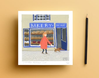 Giclee art print - bakery (with woman and dog)
