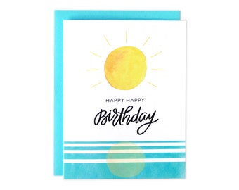 Sunset Birthday Card, Sunset Watercolor Card, Watercolor Birthday Card, Happy Birthday Card, Happy Bday Card, Happy Birthday, Watercolors