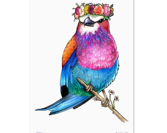 Lilac Breasted Roller in a Floral Crown - A4 Print