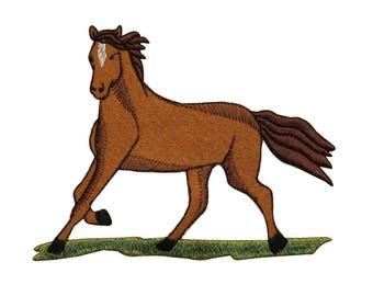 ID 0725 Horse Trotting Patch Farm Animal Stallion Embroidered Iron On Applique