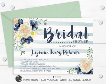 BRIDAL SHOWER INVITATIONS, Navy Floral Bridal Shower Invitation, Instant Download, Blue Floral Bridal Shower Invitation, Watercolor flowers