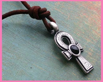 Leather Surfer Necklace With Ankh Cross Black Stone Distresed Cord