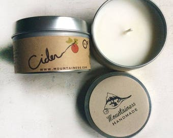 apple cider candle / clean burning soy travel tin candle / made in maine / dye free / cozy sweet scent / skin safe food grade