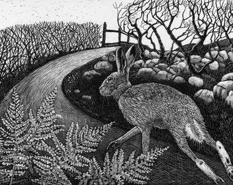 Art Card Hare on the Run of original Scraperboard