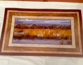 Floor Cloth/Hand Painted Canvas Rug/Sandhill Cranes/Brown/Beige/Rust/Bosque del Apache Nature Refuge/Painted Scene