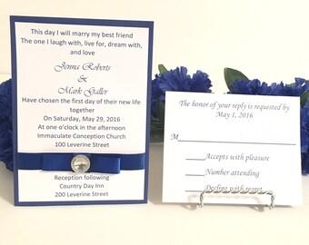 Royal Blue & White Invitation Set With Rhinestone For Weddings/Holidays/Birthdays