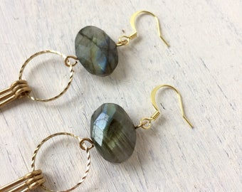 Faceted labradorite fringe earrings