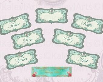 Küchen Label..Pantry Labels, Jar Labels kitchen, instant download, printable ,collage sheet, 6x12cm,2,4x4,7 zoll,rosa,helles petrol design
