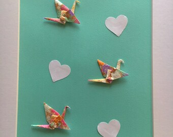 Trio Peace Cranes & Heart Clouds