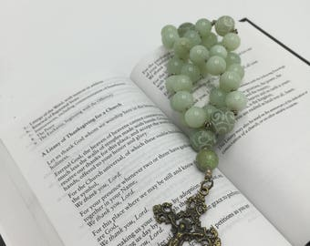 Anglican Rosary   Protestant Prayer Bead Necklace  Episcopal Rosary   Green Jade Rosary  New Beginnings   Christian Meditation