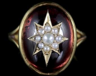 Antique Garnet Ring Victorian 18ct Gold Pearl Star Circa 1880