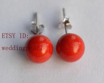 red coral earrings, coral stud earrings, 6mm real coral earings stud, girl friend gift, stone earrings, round bead earing