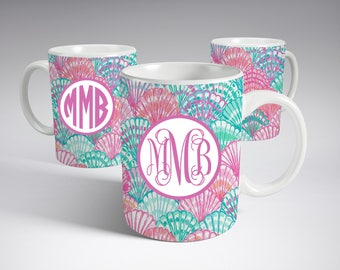 Monogram Coffee Mug, Lilly Pulitzer Inspired, Personalized Coffee Mug, Teachers Gift, Gift for her, Personalized coffee Cup, 11oz