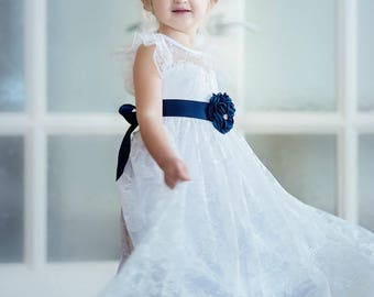 Navy flower girl dress etsy more colors lace girl dressnavy blue flower mightylinksfo