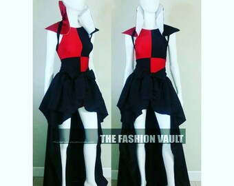 Two in one Steampunk Harley Quinn Bustle skirt and samurai shoulder collar wrap Queen of hearts