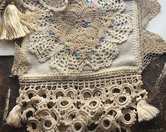 Shabby Antique Lace Boho Bag
