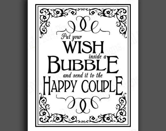 PRINTABLE Bubble Send off DIY Wedding sign - immediately available via download - traditional Black Tie Collection - Wedding Signage