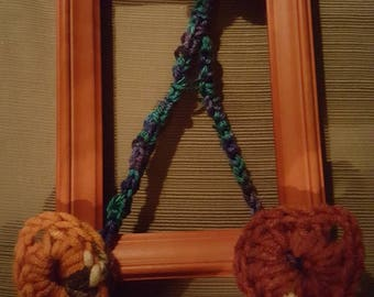 Crochet letter A with leaves all around for Autumn