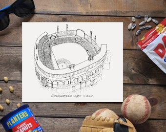 Guaranteed Rate Field - Chicago White Sox - Stipple Art Print  - Baseball Art -Chicago White Sox Art - Chicago White Sox Print