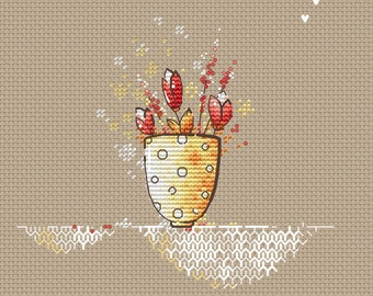 Tulips in the cup PDF Cross Stitch Pattern bouquet flowers instant download pdf chart by SVStitch