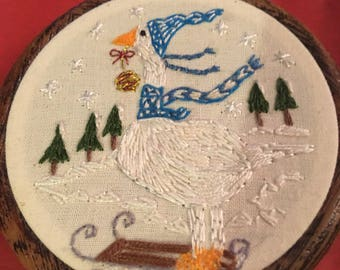 Christmas Goose, hand embroidered, wall hanging, Christmas tree decoration, Christmas gift, stocking filler, cute, sledge, snowy, pretty