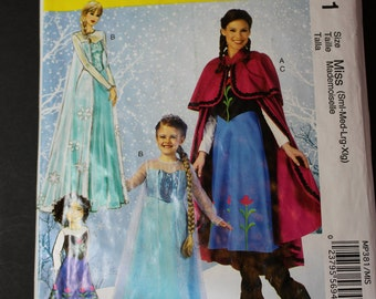New McCalls MP381 Womens Frozen Elsa Anna costume pattern