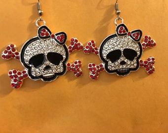 Sugar skull rhinestone earrings  D59