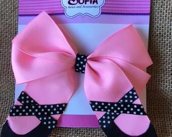 Ballerina hair bow - pink - purple - red