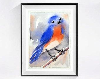 Blue Bird Painting Watercolor Print Song bird wall decor Eastern Bluebird Nature art Woodland creature wildlife painting art red white blue