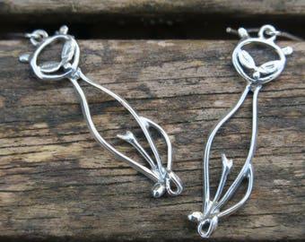 Long Cat Earrings, Silver Cat Earrings, Animal Earrings, Silver Dangle Earrings, Cat Jewelry, Sterling Silver Earrings, Silver Earrings